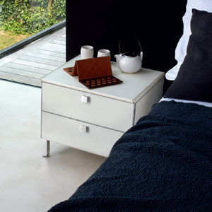 contemporary bedside table / MDF / leather / aluminum