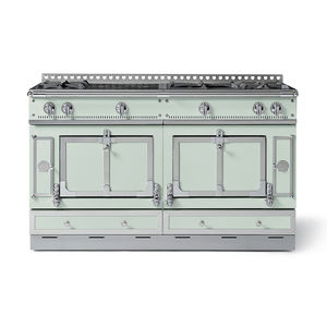 gas range cooker / electric / dual-fuel / stainless steel