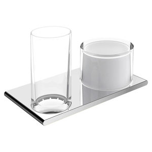 wall-mounted shelf / contemporary / chromed metal / glass