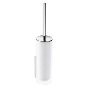 chromed metal toilet brush / glass / wall-mounted / for hotels