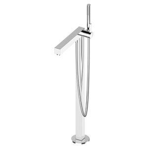 bathtub mixer tap / floor-mounted / chromed metal / bathroom