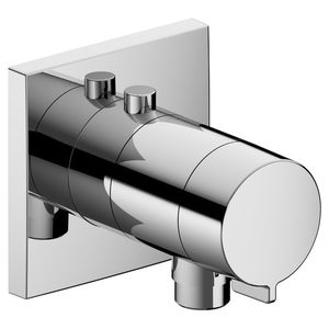 shower mixer tap / wall-mounted / chromed metal / thermostatic