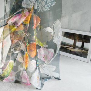 floral pattern sheer curtain fabric / Trevira CS® / polyester / washable
