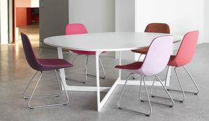 contemporary table / linoleum / lacquered aluminum / round