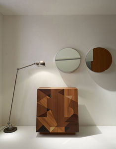 wall-mounted mirror / contemporary / round / stainless steel