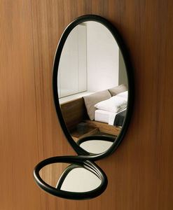 wall-mounted mirror / contemporary / oval / solid wood