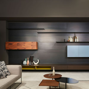 contemporary living room wall unit / wooden / steel