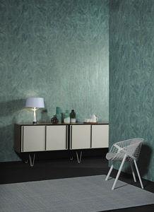 contemporary wallpaper / vegetal fiber / geometric / metal look