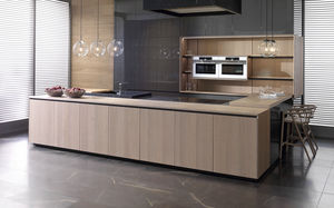 contemporary kitchen / wood veneer / particle board / extruded aluminum