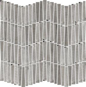 indoor mosaic tile / wall / aluminum / rectangular