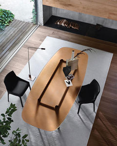 contemporary table / tempered glass / oak base / solid wood base