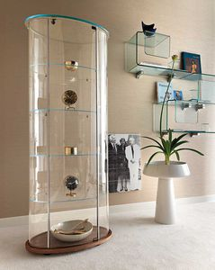 contemporary display case / glass / wooden / brushed aluminum