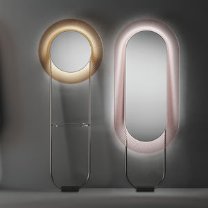 free-standing mirror / LED-illuminated / contemporary / round