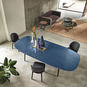 contemporary table / tempered glass / painted metal base