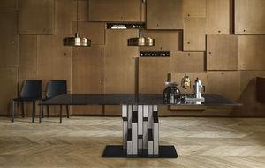 original design table / glass / painted metal base / rectangular