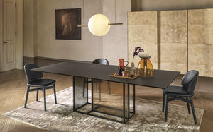 contemporary table / tempered glass / painted metal base / rectangular