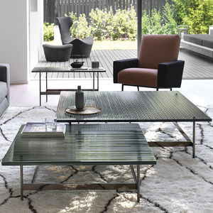 contemporary coffee table / glass / metal base / rectangular