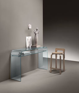 contemporary sideboard table / curved glass / curver glass base / rectangular