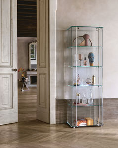 contemporary display case / glass / aluminum / illuminated