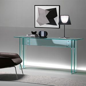 contemporary sideboard table / glass / stainless steel / rectangular