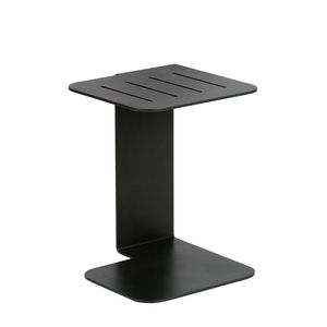 contemporary side table / in lacquered stainless steel / square / black