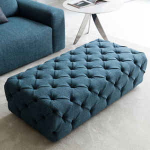 contemporary pouf / fabric / leather / rectangular