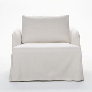 contemporary armchair / fabric / leather / with washable removable cover