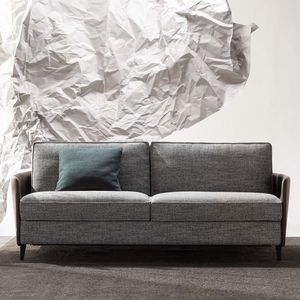 sofa bed / contemporary / fabric / leather