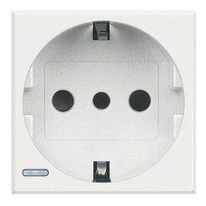 power socket / wall-mounted / stainless steel / glass