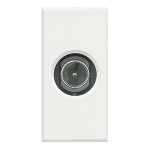 TV socket / wall-mounted / stainless steel / glass