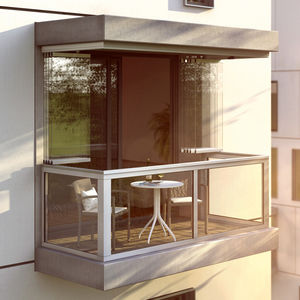 sliding and stacking balcony window / aluminum / acoustic / frost-resistant