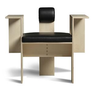 original design armchair / fabric / leather / plywood