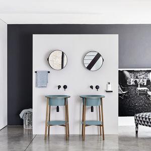 free-standing washbasin cabinet / ceramic / marble / design