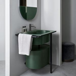 free-standing washbasin cabinet / wooden / ceramic / metal