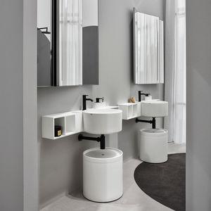 double washbasin / wall-mounted / round / ceramic