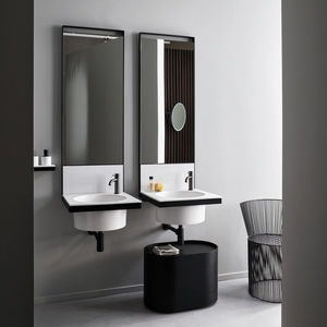 double washbasin cabinet / wall-hung / ceramic / metal
