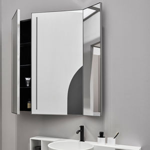wall-mounted mirror / LED-illuminated / double-face / contemporary