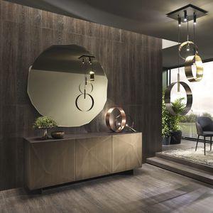 contemporary sideboard / lacquered wood / American walnut / Cornish oak