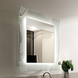 wall-mounted mirror / illuminated / contemporary / square