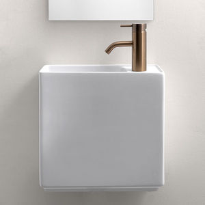 wall-mounted hand basin / rectangular / ceramic / commercial