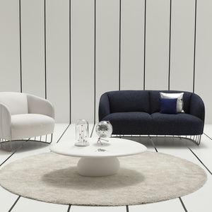 organic design coffee table / wooden / stone / resin