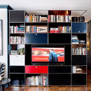 contemporary TV wall unit / MDF / metal / custom