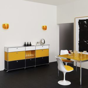 contemporary sideboard / lacquered MDF / metal / on casters