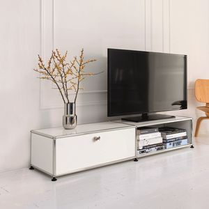 contemporary TV cabinet / lacquered MDF / metal