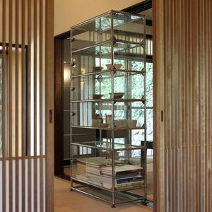contemporary display case / glass / metal