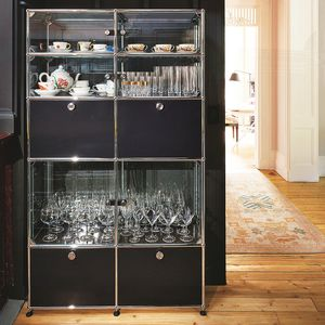 contemporary china cabinet / glass / metal