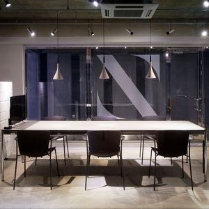 contemporary boardroom table / lacquered MDF / laminate / metal