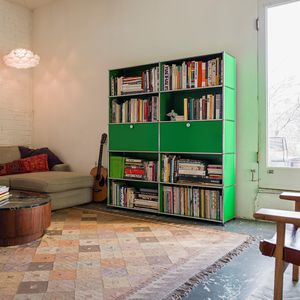 contemporary bookcase / lacquered MDF / metal