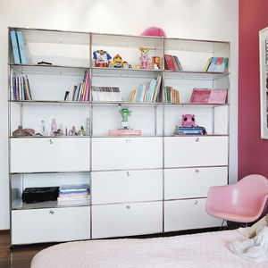 contemporary shelf / lacquered MDF / metal / bedroom