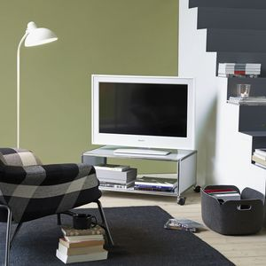 contemporary TV cabinet / on casters / lacquered MDF / metal